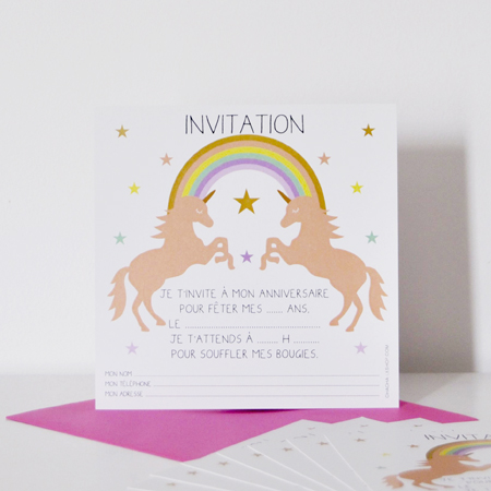 8 Invitations Licorne Hip Hip Hip