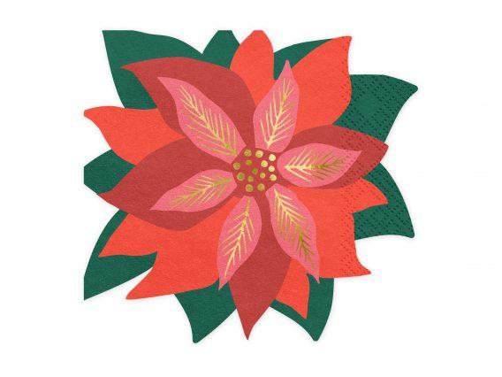 serviette-fleur-rouge-noel